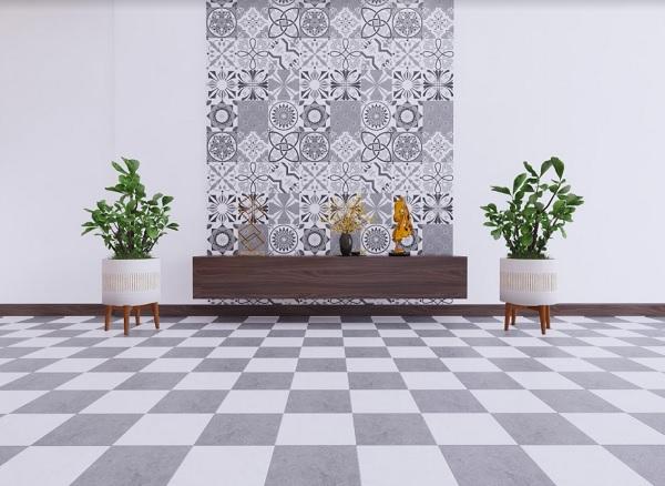 Ứng dụng gạch bông Viglacera trong phòng khách