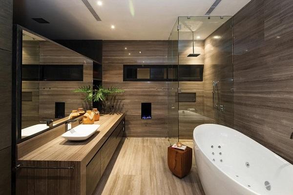 Họa tiết gạch ốp lát nhà tắm vân gỗ