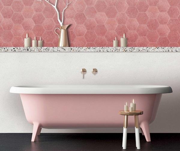 Gạch ốp tường màu hồng cho phòng vệ sinh