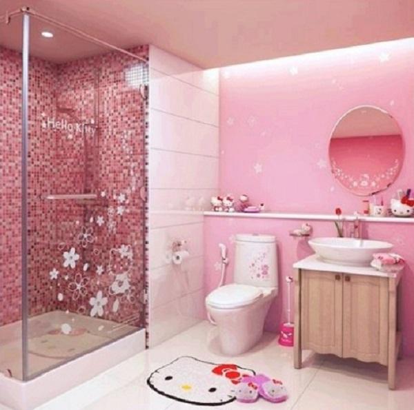 Gạch ốp tường màu hồng cho phòng tắm