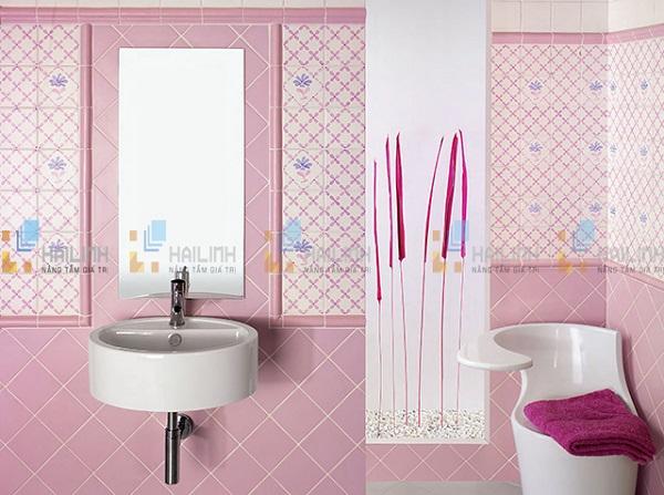 Gạch ốp tường màu hồng cho phòng nhà vệ sinh