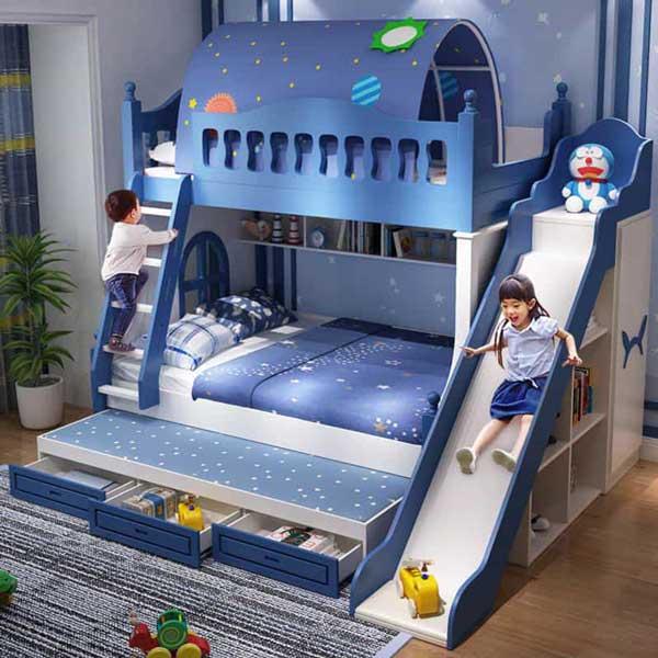 tổng quan không gian phòng ngủ có giường tầng