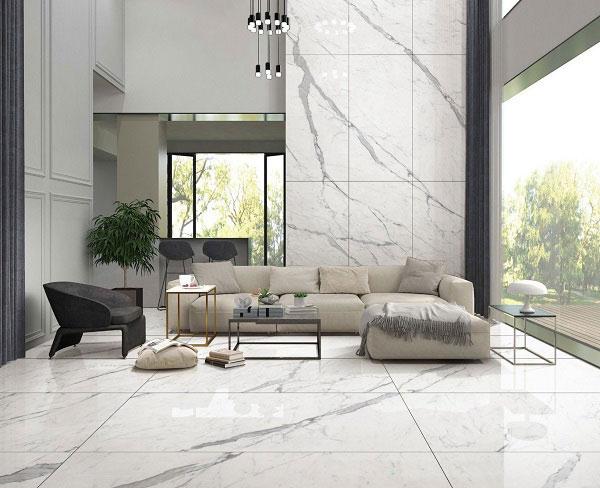 Gạch ốp tường vân đá màu trắng cho phòng khách thanh lịch, sang trọng 1