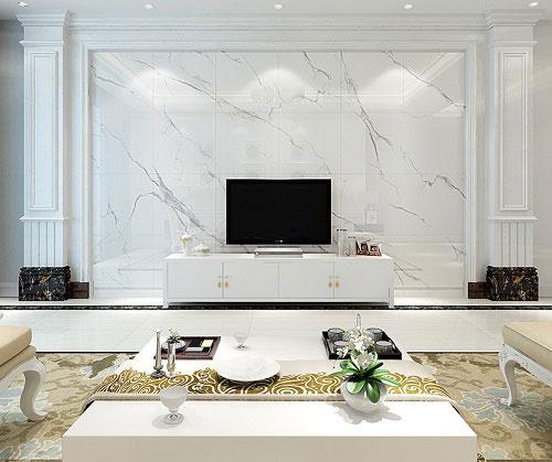 Gạch ốp tường vân đá màu trắng cho phòng khách thanh lịch, sang trọng 2